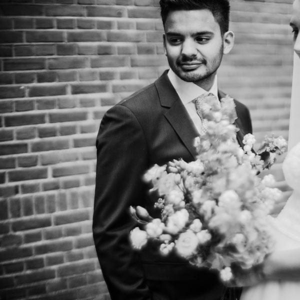 Sony black and white a7RII canon dreamlens wedding image by Willie Kers
