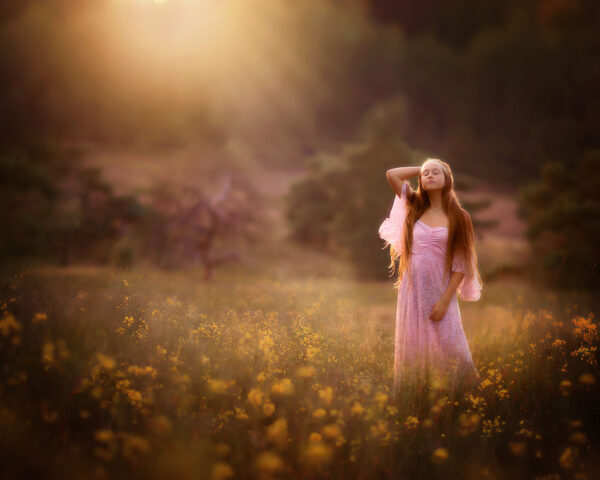 canon EOS R fine art image of a young glamorous woman with long hair in a pink wedding dress standing in a field of yellow flowers during sunset by Willie Kers Photography