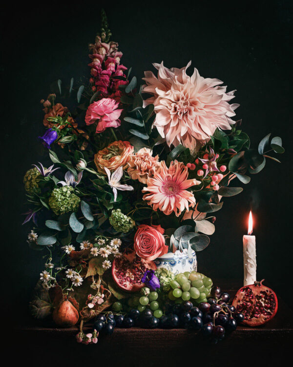 Canon flower stillife with grapes roses pear and passion fruit by dutch photographer Willie Kers