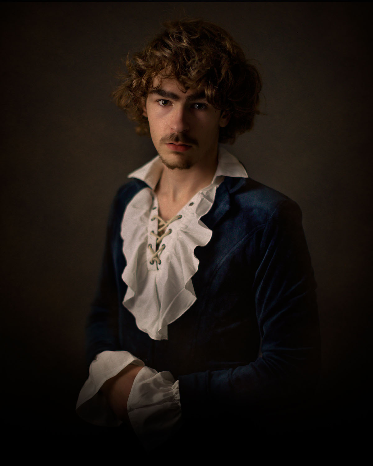 EOS R fine art portrait of the dutch master rembrandt of a young man in a painterly style by Willie Kers Photographer from the netherlands